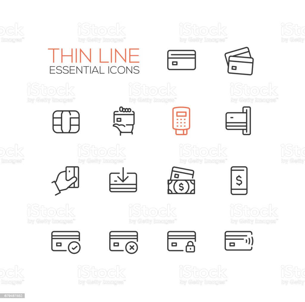 Finance - modern vector single thin line icons set vector art illustration