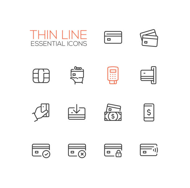 finance - modern vector single thin line icons set - credit cards stock illustrations, clip art, cartoons, & icons