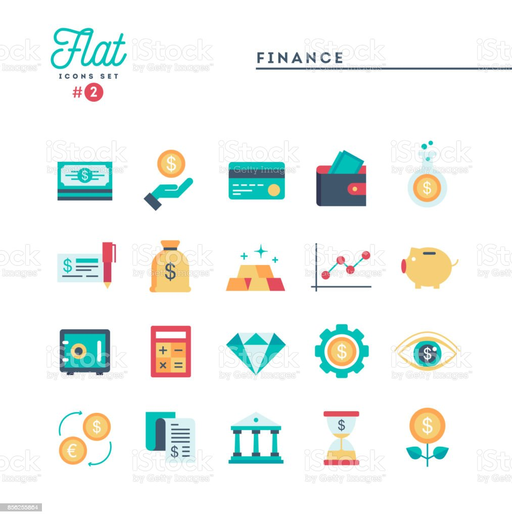 Finance, money, banking and more, flat icons set vector art illustration