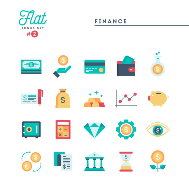Finance, money, banking and more, flat icons set Finance, money, banking and more, flat icons set, vector illustration wallet stock illustrations