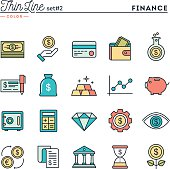 Finance, money, banking, business and more, thin line color icons