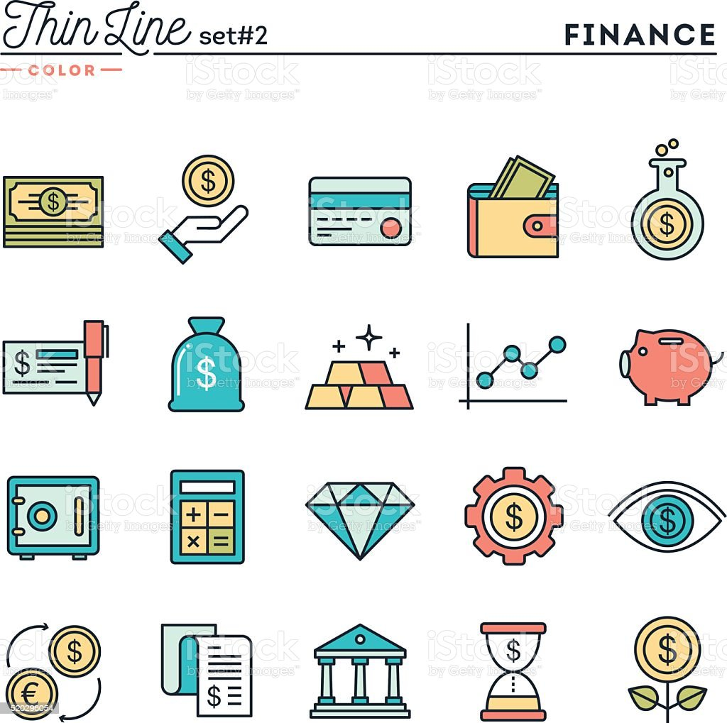 Finance, money, banking, business and more, thin line color icons vector art illustration