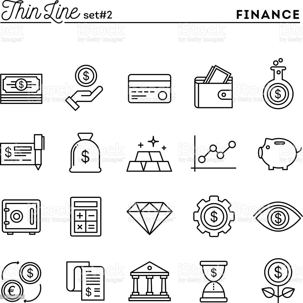 Finance, money, banking, business and more, thin line icons set vector art illustration