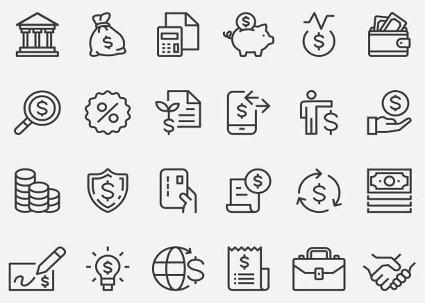 ilustrações, clipart, desenhos animados e ícones de ícones da linha do negócio do dinheiro da finança - empréstimo