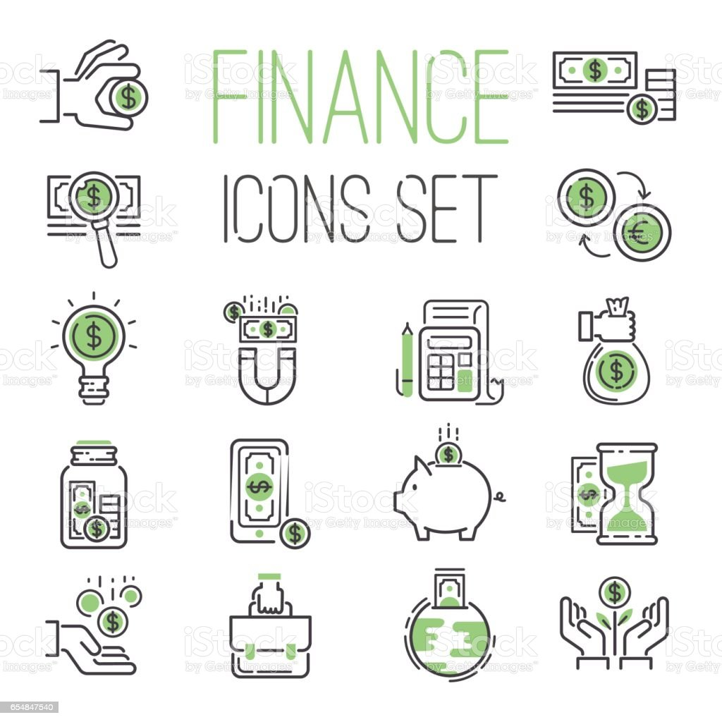 Finance money business outline black wealth accounting graph savings and cash investment banking financial green bank icons set vector illustration vector art illustration