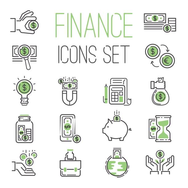 Finance money business outline black wealth accounting graph savings and cash investment banking financial green bank icons set vector illustration Finance money business outline black wealth accounting graph savings and cash investment banking financial green bank icons set vector illustration. Credit economic invest growth save. safety deposit box stock illustrations