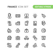 Set of finance outline vector icons. Editable Stroke.