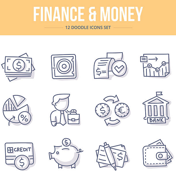 Finance & Money Doodle Icons Doodle line icons of banking, investing, financial services, money saving. Vector illustration concepts banking drawings stock illustrations