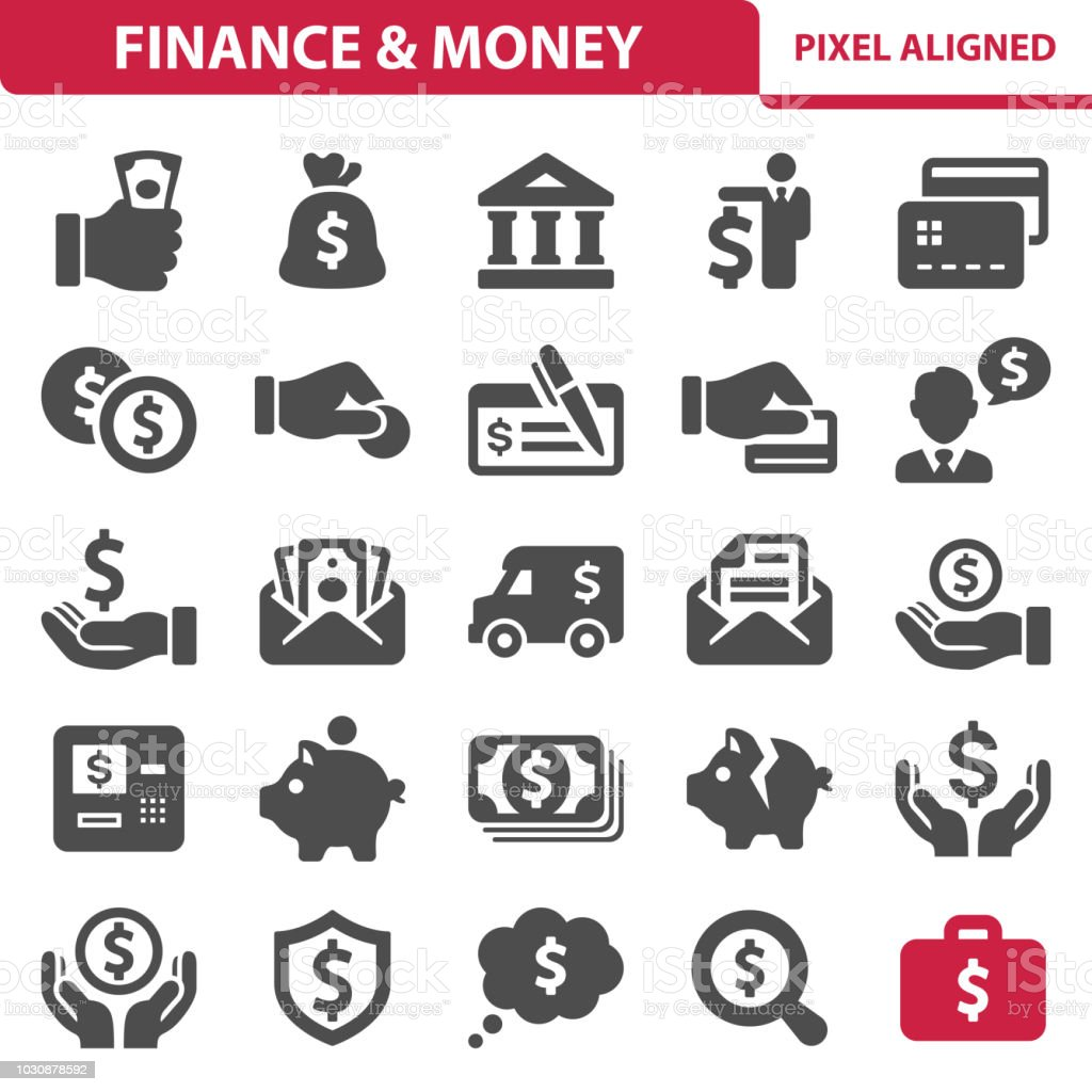 Finance & Money Icons vector art illustration