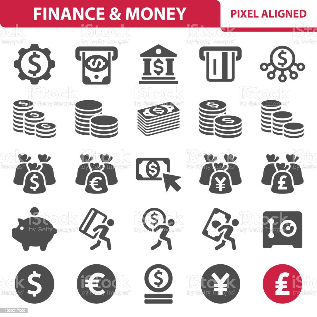 Finance & Money Icons Professional, pixel perfect icons, EPS 10 format. ATM stock vector