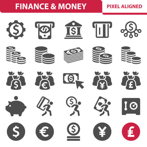 Finance & Money Icons Professional, pixel perfect icons, EPS 10 format. european union currency stock illustrations