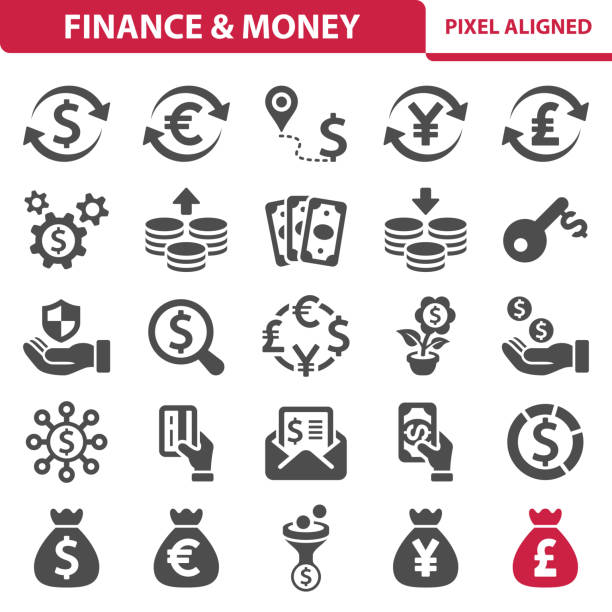 Finance & Money Icons Professional, pixel perfect icons, EPS 10 format. taiwanese currency stock illustrations