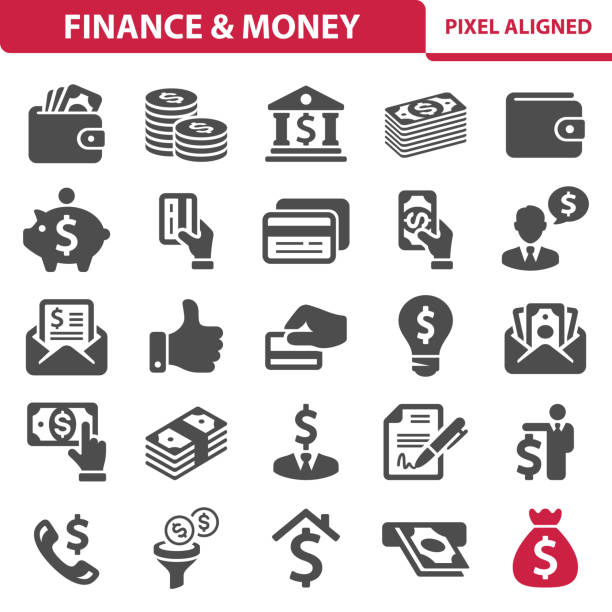 ilustrações, clipart, desenhos animados e ícones de finanças & dinheiro ícones - banco edifício financeiro