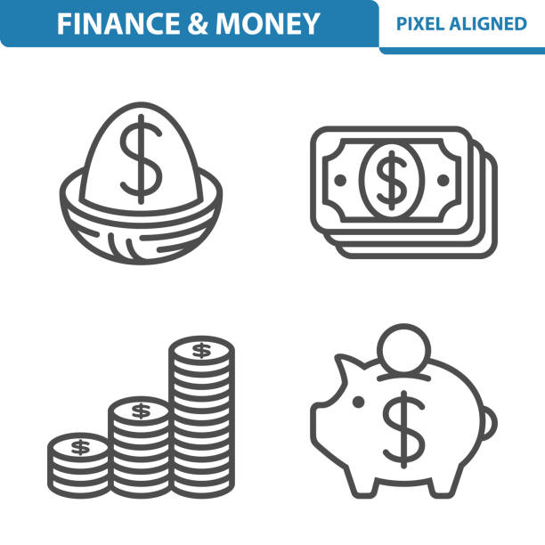Finance / Money Icons Professional, pixel perfect icons, EPS 10 format. nest egg stock illustrations