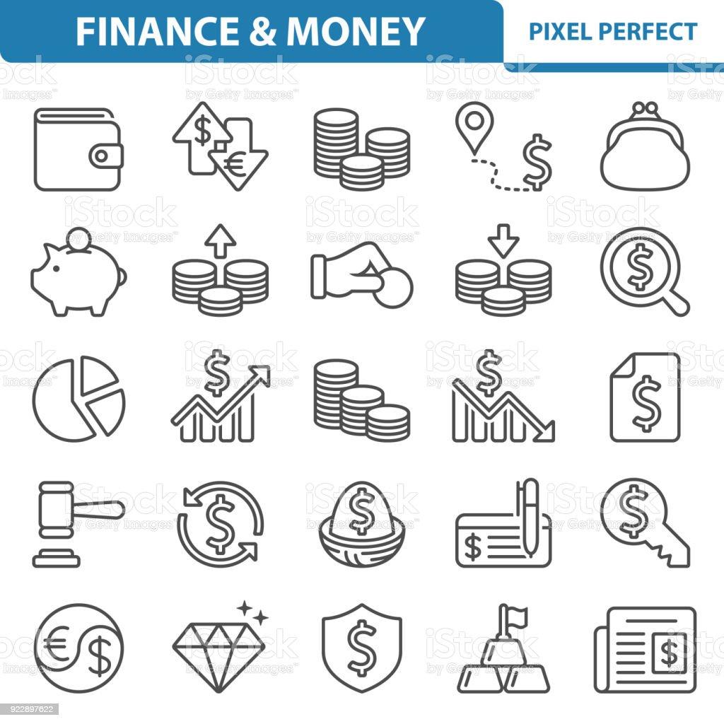 Finance & Money Icons – artystyczna grafika wektorowa