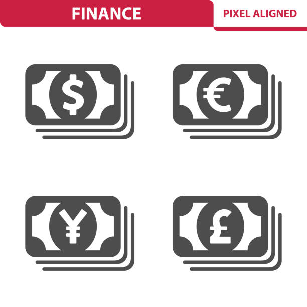 Finance & Money Icons Professional, pixel perfect icons depicting various finance, money and currency concepts. yuan symbol stock illustrations
