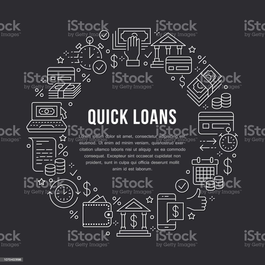 Finance Money Loan Circle Template Flat Line Icons Quick