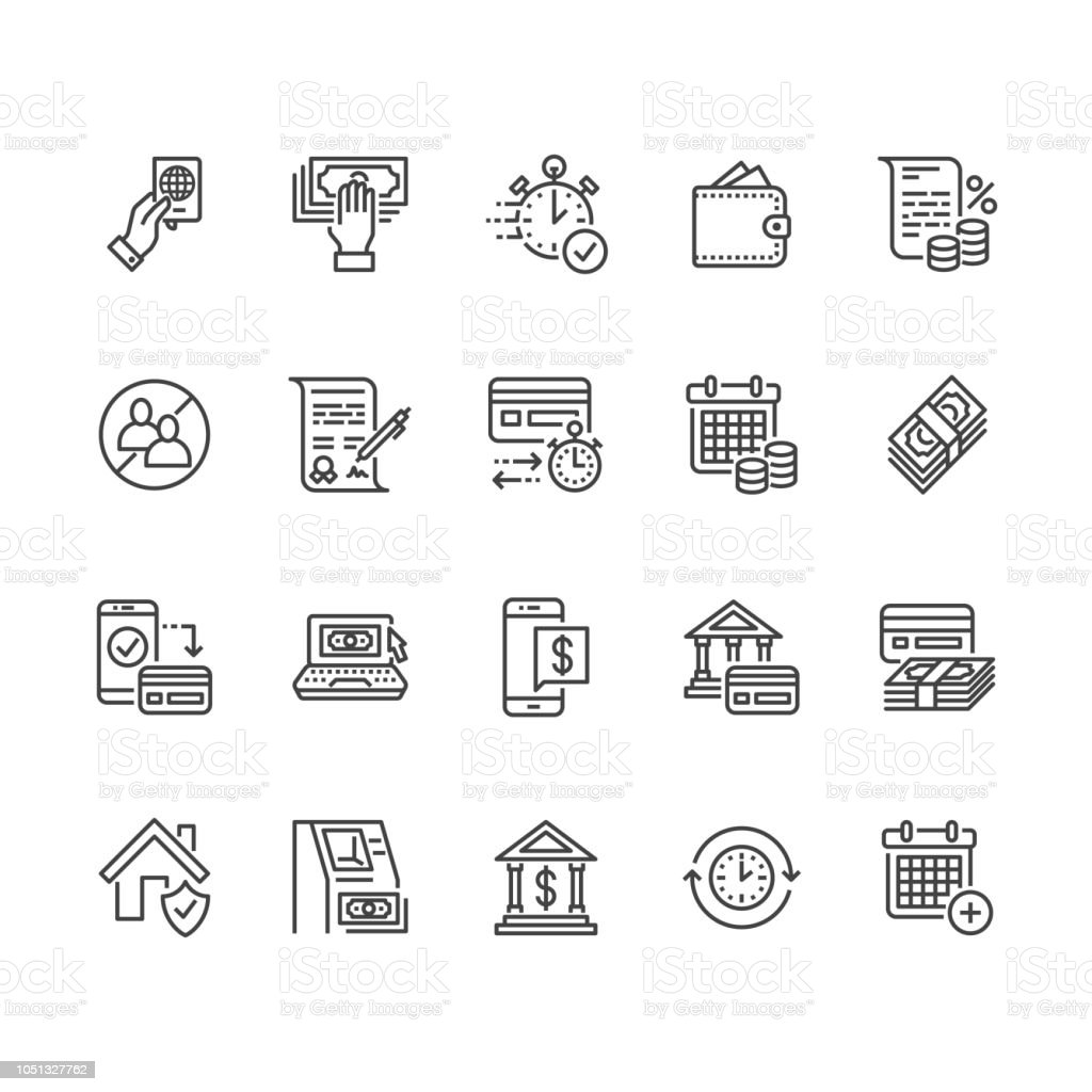 Finance, money loan flat line icons set. Quick credit approval, currency transaction no commission, cash deposit atm vector illustrations. Thin signs for banking. Pixel perfect 64x64 Editable Strokes royalty-free finance money loan flat line icons set quick credit approval currency transaction no commission cash deposit atm vector illustrations thin signs for banking pixel perfect 64x64 editable strokes stock illustration - download image now