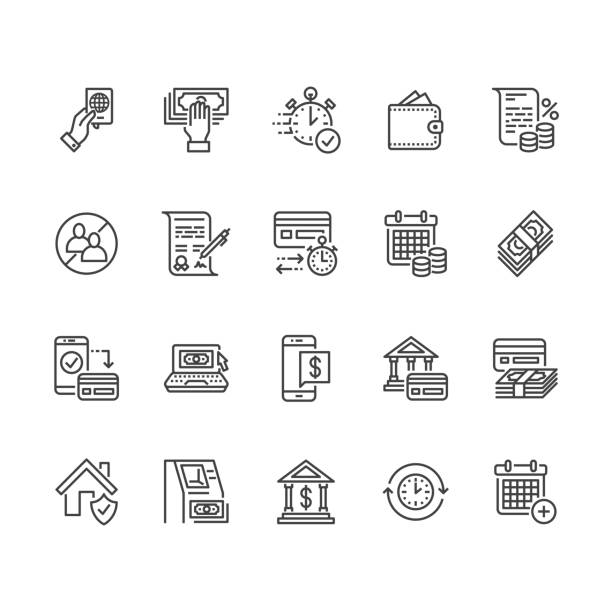 Finance, money loan flat line icons set. Quick credit approval, currency transaction no commission, cash deposit atm vector illustrations. Thin signs for banking. Pixel perfect 64x64 Editable Strokes Finance, money loan flat line icons set. Quick credit approval, currency transaction, no commission, cash deposit atm vector illustrations. Thin signs for banking. Pixel perfect 64x64 Editable Strokes automatic stock illustrations