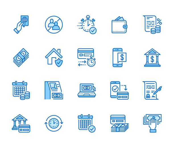 Finance, money loan flat line icons set. Quick credit approval, currency transaction, no commission, cash deposit atm vector illustration. Thin signs for banking. Pixel perfect 64x64 Editable Strokes vector art illustration