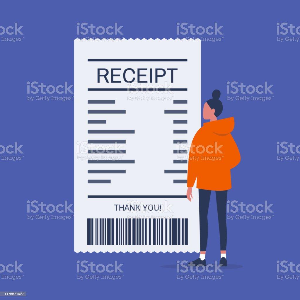 Finanza. Soldi. Giovane personaggio femminile guardando la ricevuta della carta. Cliente al supermercato o al ristorante. Fattura. Illustrazione vettoriale modificabile piatta, ClipArt - arte vettoriale royalty-free di Adulto