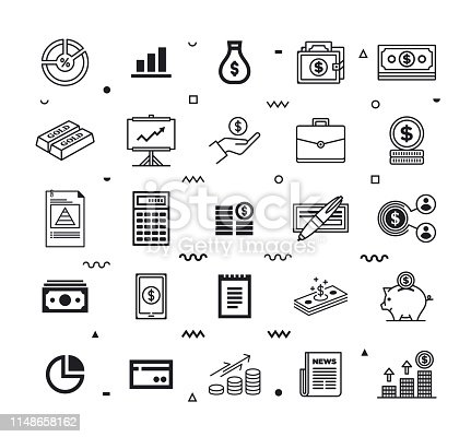 Finance performance and efficiency outline style symbols. Line vector icons set for infographics, mobile and web designs.