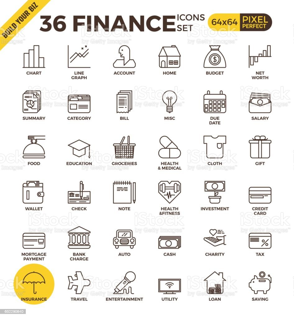Finance pixel perfect outline icons vector art illustration