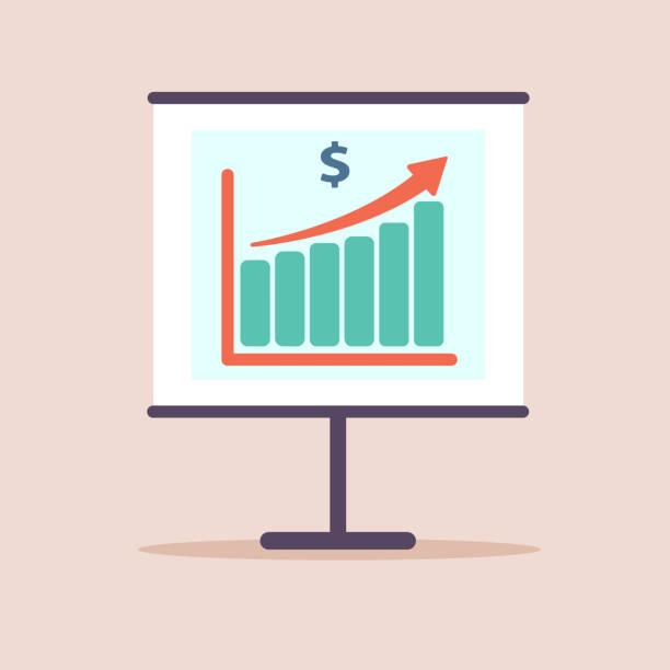 illustrations, cliparts, dessins animés et icônes de financer la croissance de la productivité graphique revenu, tableau de bord statistique, icône plate de vecteur. design plat. illustration - inflation
