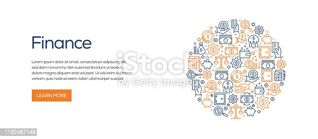 Finance Related Banner Template with Line Icons. Modern vector illustration for Advertisement, Header, Website.