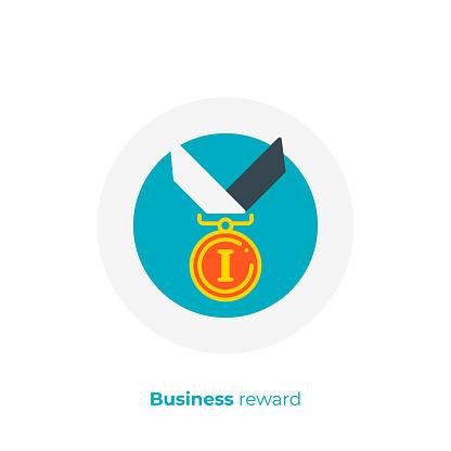 Finance Reward Flat Art Icon Business Success Vector Art Cartoon Digital Champion Illustration Stock Illustration - Download Image Now