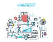Finance safety, security of bank, online banking, data protection, payment security, safe of finance transactions, cash deposits, purchases, money. Illustration thin line design of vector doodles.