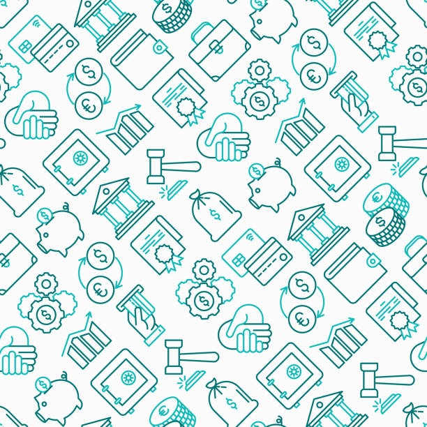 Finance seamless pattern with thin line icons: safe, credit card, piggy bank, wallet, currency exchange, hammer, agreement, handshake, atm slot. Modern vector illustration. Finance seamless pattern with thin line icons: safe, credit card, piggy bank, wallet, currency exchange, hammer, agreement, handshake, atm slot. Modern vector illustration. banking patterns stock illustrations