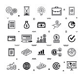 Finance shared services outline style symbols on white background. Line vector icons set for infographics, mobile and web designs.
