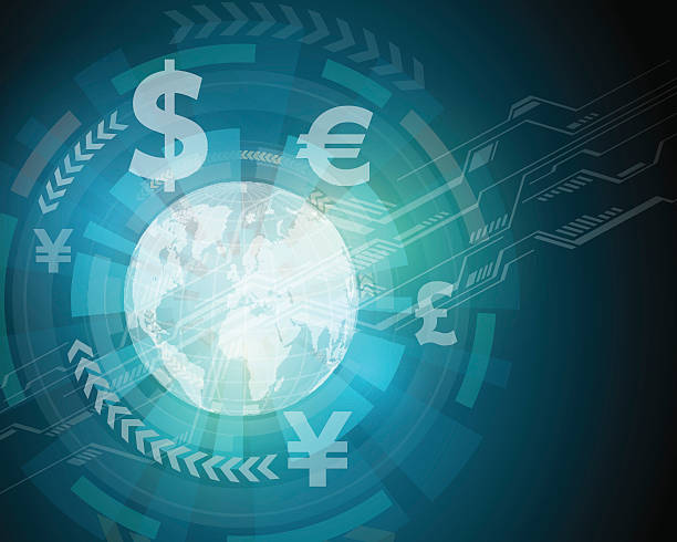 finance technology (fintech) and global trade, abstract image finance technology (fintech) and global trade, abstract image, vector illustration japanese currency stock illustrations
