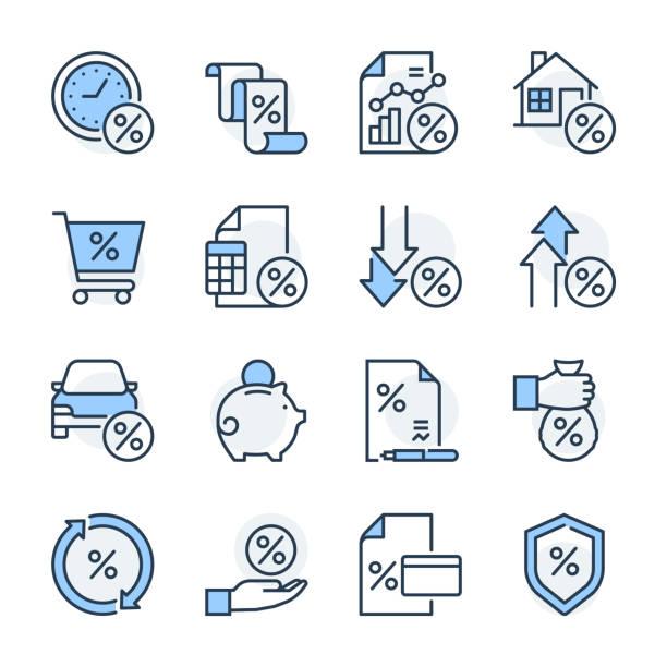 ilustrações, clipart, desenhos animados e ícones de jogo do ícone do tema da finança - empréstimo