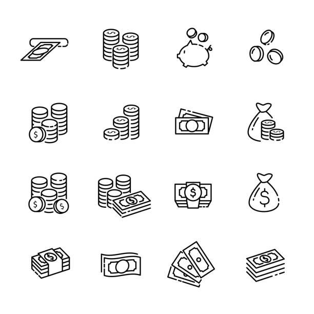ilustrações, clipart, desenhos animados e ícones de conjunto de ícones de linha fina de finanças 1, vetor eps10 - moeda