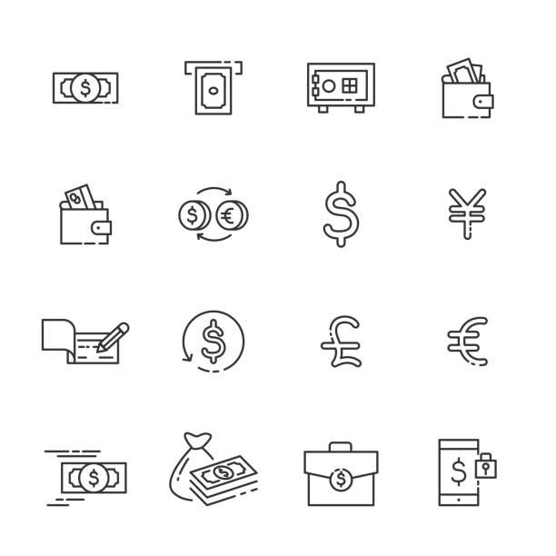 finance thin line icon set 2, vector eps10 - dollar bill stock illustrations
