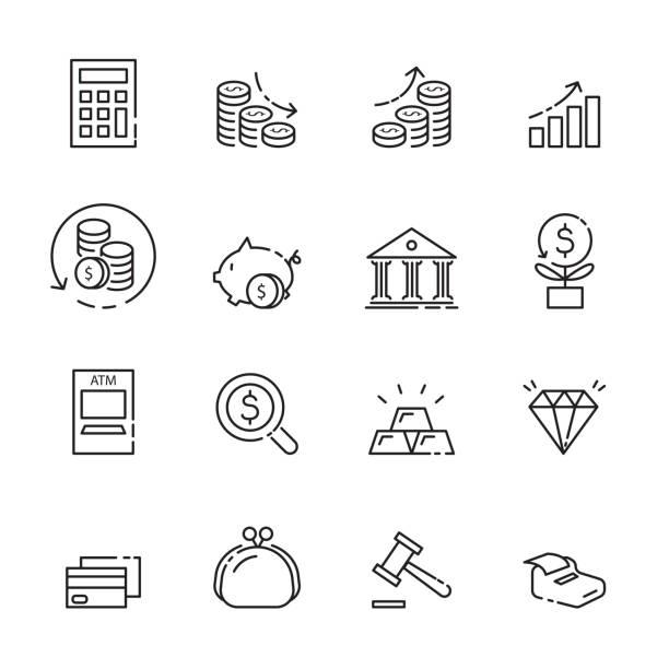 stockillustraties, clipart, cartoons en iconen met financiën pictogrammenset dunne lijn 3, vector eps10 - vermindering