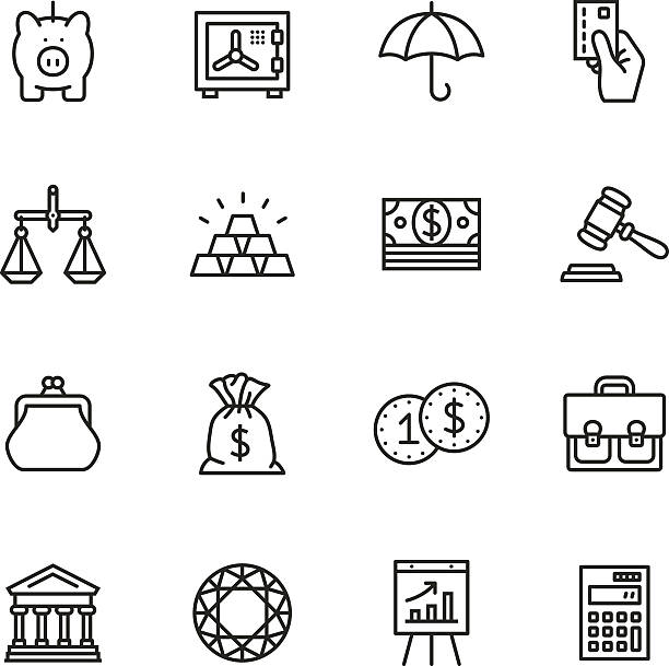 Finance Thin Line icons Vector thin line icons set. One icon consists of a single object. Files included: Vector EPS 10, HD JPEG 3000 x 3000 px, AI CC (17) change purse stock illustrations