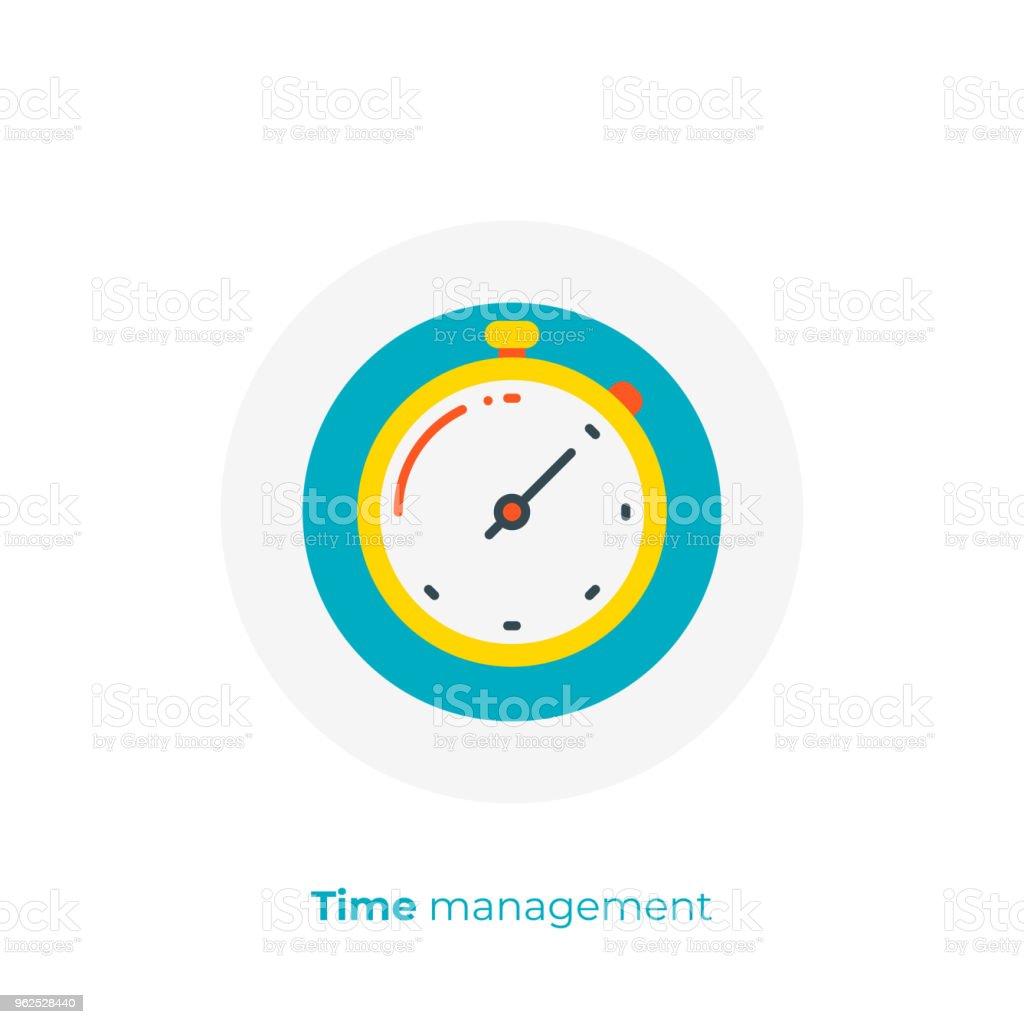 Financiamento timemanagement plana ícone de arte, negócios relógios vector art, ilustração de tempo digital reviravolta dos desenhos animados - Vetor de Começo royalty-free