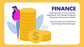 Finance Vector Banner Template with Text Space. financial Consultant Flat Poster. Tax Advice. Income, Profit. Banking, Funding, Investment. Financier, Marketer. Woman pointing on Coins Pile