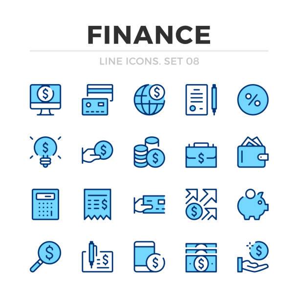 ilustraciones, imágenes clip art, dibujos animados e iconos de stock de conjunto de iconos de línea vectorial de finanzas. diseño de línea delgada. delinear elementos gráficos, símbolos de trazo sencillos. iconos financieros - taxes