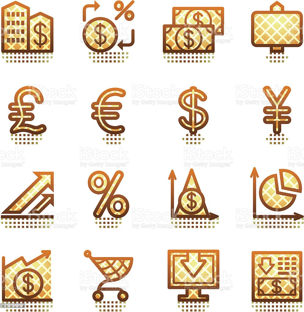 Finance web icons. Brown series.