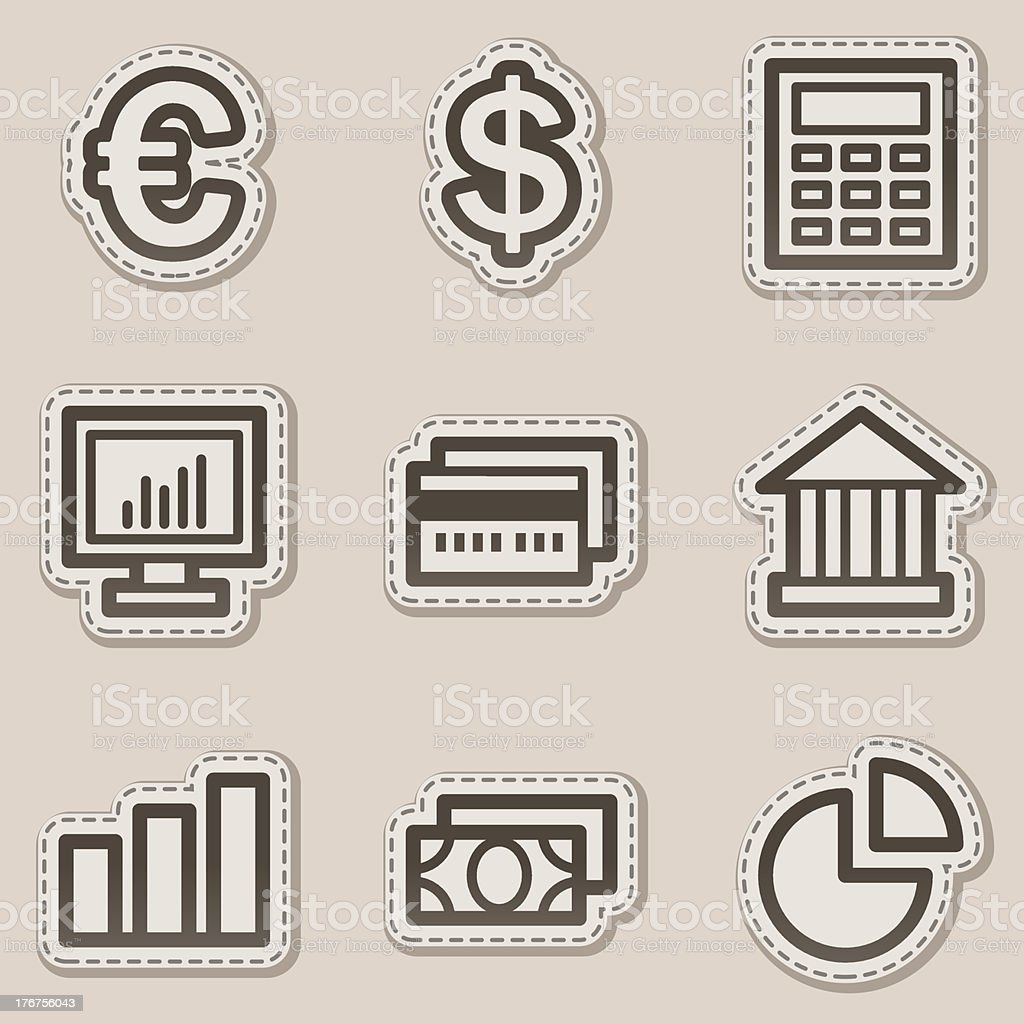 Finance web icons set 1, brown contour sticker series royalty-free stock vector art