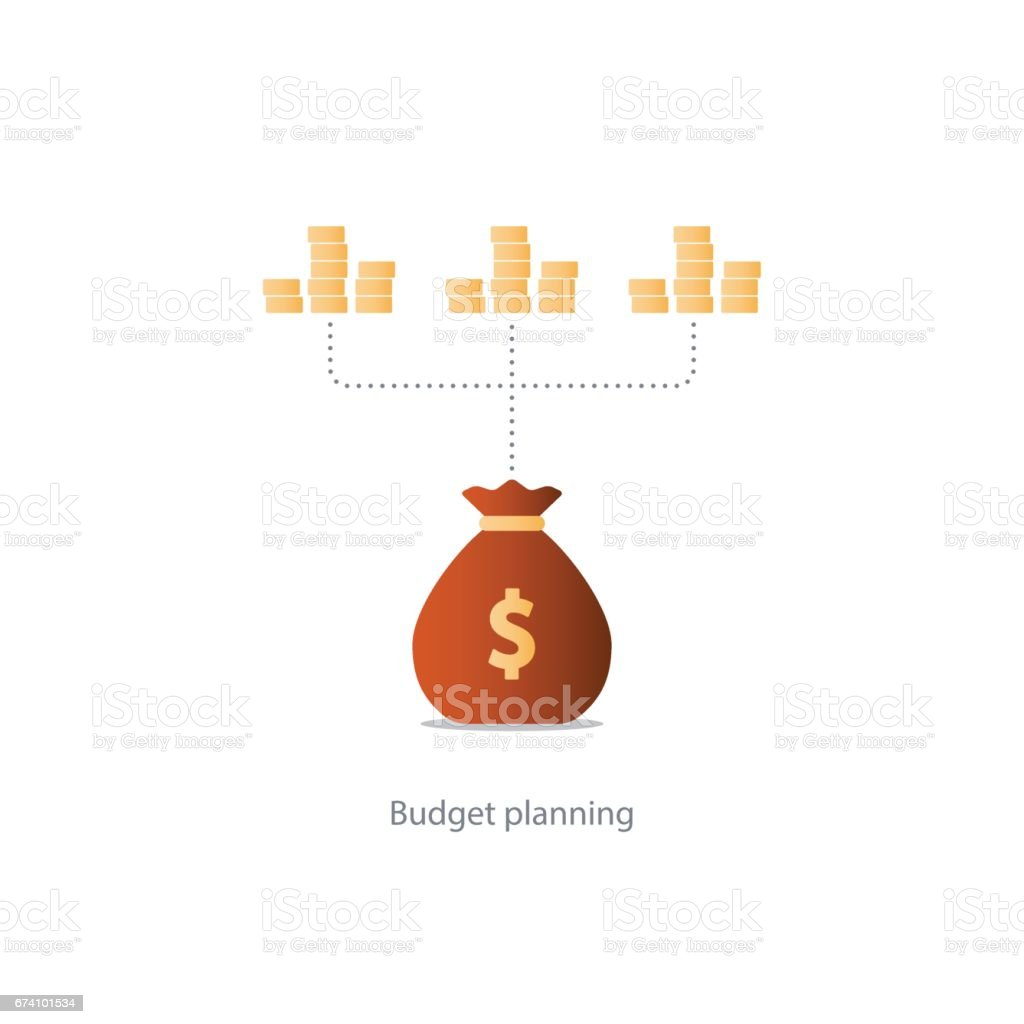 Finances and investment management, budget planning, compound interest, income vector art illustration