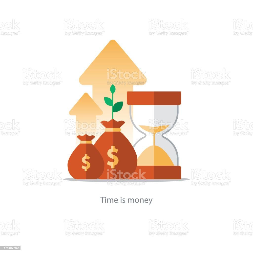 Finances and investment management, budget planning, compound interest, income vector art illustration