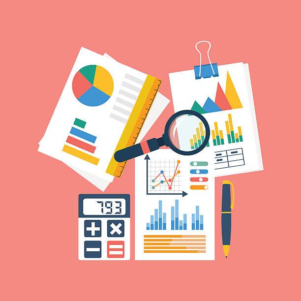 Projet de processus de comptabilité finances de l'entreprise, d'analyse, r - Illustration vectorielle