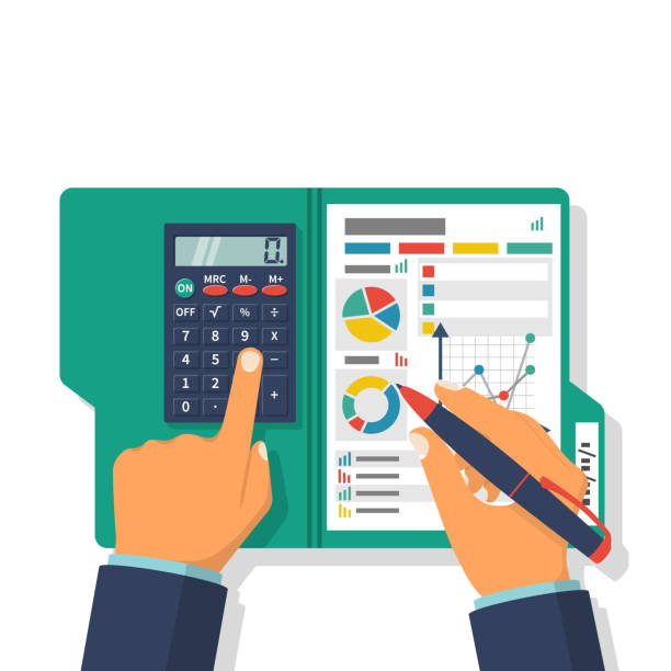 illustrazioni stock, clip art, cartoni animati e icone di tendenza di financial accounting concept - project