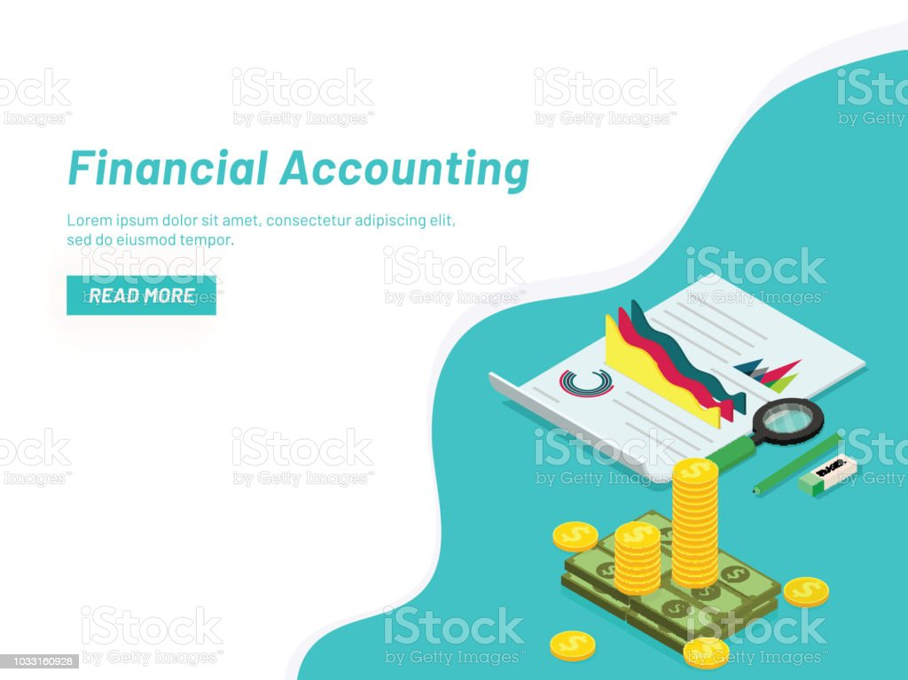 Financial Accounting Concept With Isometric Coin Stack And Business