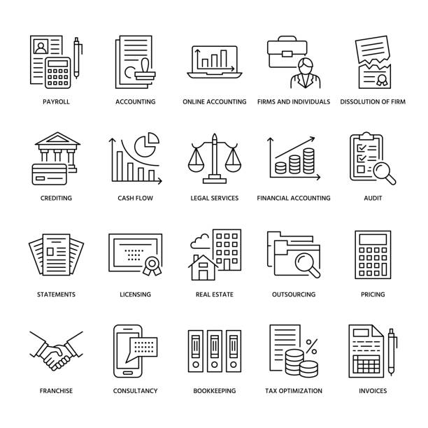 financial accounting flat line icons. bookkeeping, tax optimization, firm dissolution, accountant outsourcing, payroll, real estate crediting. accountancy finance thin linear signs for legal services - accountant stock illustrations, clip art, cartoons, & icons